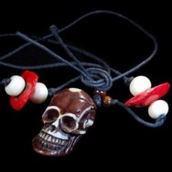 Tibetaans-Yak-been schedel-halsketting